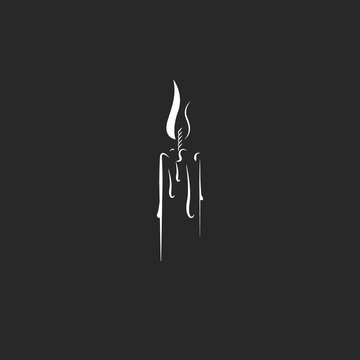 Silhouette of a single burning candle in a hipster style as a symbol of grief and sorrow, black and white illustration in a minimalist style, an idea for a grunge tattoo or sticker