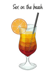 Sex on the beach cocktail, with orange decorations, sraw. For cafe and restaurant menu, packaging and advertisement. Hand drawn. Isolated image. Vector illustration.
