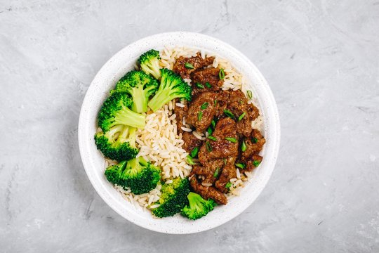 Homemade Beef and Broccoli bowl with Rice