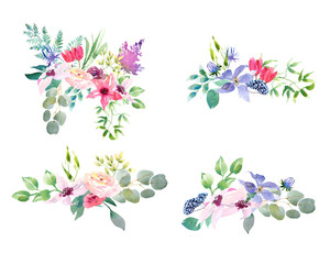 Collection spring Wedding romanric watercolor bouquet. Hand drawing watercolor blue pink and purple flowers ornament