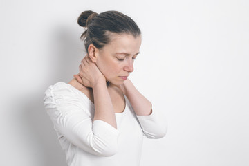 Spine pain in the neck. Fatigue.