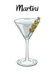 Martini cocktail, with olives decorations. For cafe and restaurant menu, packaging and advertisement. Hand drawn. Isolated image. Vector illustration.