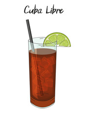 Cuba libre cocktail, with lime decorations, straw. Hand drawn. Isolated image. Vector illustration.