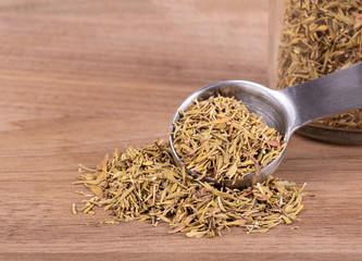 Closeup of a Measuring Spoonful of Chopped Thyme