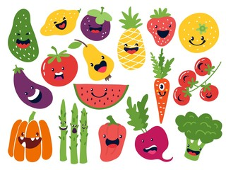 Flat vegetable characters. Funny smiley doodle fruits, hand drawn berries potato onion tomato apples. Vector cute fruits emoticon set Wall mural