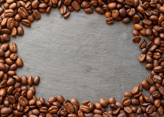 coffee beans table top view