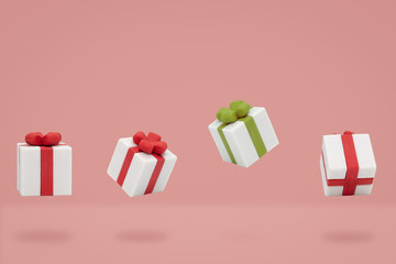 Christmas gift boxes is flying on pink backdrop, Minimal style.