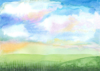 background watercolor illustration, colorful sky with green hill