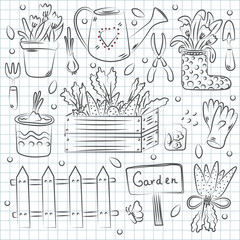 Hand drawn set of garden tools. Vintage ink drawing. Vector illustration isolated on notebook background.