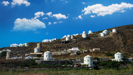 Santorini island, Greece. Windmills near Oia village in Thira.