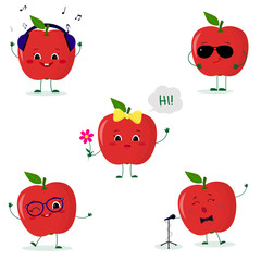 A set of five red apple Smiley in a cartoon style. In headphones, in sunglasses, dancing in glasses , with a flower, singing into the microphone. Flat, Vector illustration