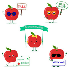 A set of five red apple Smiley in cartoon style. With different plates and glasses. Logo, template, design. Flat, Vector illustration