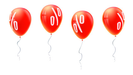 Red balloons with percent sign, symbol of discount isolated on white background. Set of sales icons for retail, shopping, markets. Balloons floating in the air. Template for poster, banner, leaflet.