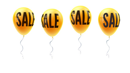 Set of yellow balloons with word of sale, symbol of discount isolated on white background. Set of icons for retail, shopping, markets. Balloons floating in the air, template for sales actions