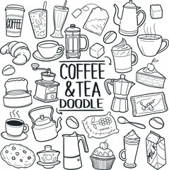 Coffee and Tea Drink Traditional Doodle Icons Sketch Hand Made Design Vector