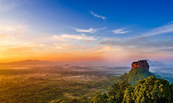 Sunrise view to Sigiriya rock - Lion Rock - from Pidurangala Rock in Sri Lanka