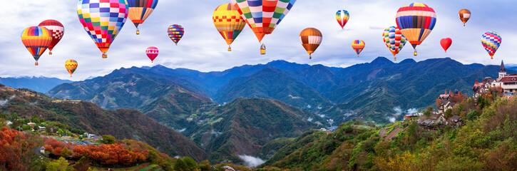 Poster Ballon Colorful hot air balloon fly over mountain landscape of Taiwan 1