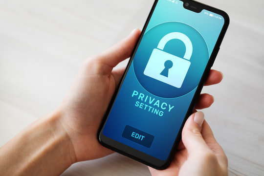 Privacy settings on mobile phone screen. Cyber security concept.