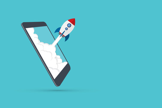 App launch. Startup vector concept, flat cartoon rocket or rocketship launch, mobile phone or smartphone, idea of successful business project start up, boost technology, innovation.