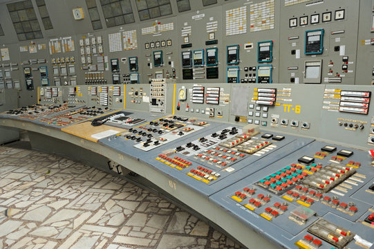 Main control board in a control operations room of the reactor of the Chernobyl Nuclear Power Plant
