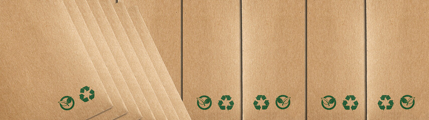 Eco packaging background. Recycling paper bag brown shopping, that do not cause harm to the environment. Recycling and ecology sign. Ecologic craft package. Banner, poster.