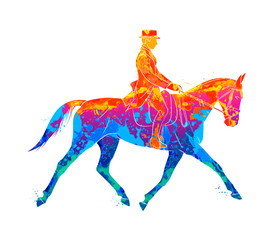 Abstract Equestrian sport from splash of watercolors. Jockey in uniform riding horse. Dressage