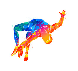 Abstract athlete jumps in height from splash of watercolors