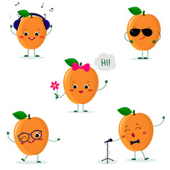 A set of five ripe apricot Smiley in a cartoon style. In headphones, in sunglasses, dancing in glasses , with a flower, singing into the microphone. Flat, Vector illustration