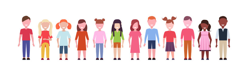 Wall Mural - happy mix race girls and boys standing together diversity little children group male female cartoon characters full length flat white background horizontal banner