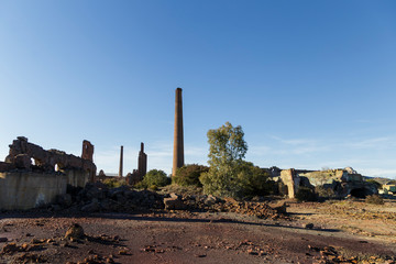 Abandoned chimney in an old coal factory