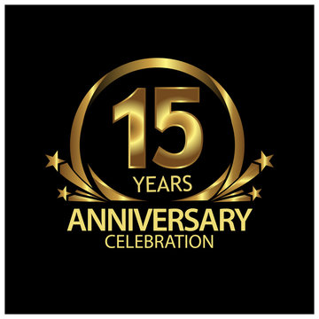 fifteen years anniversary golden. anniversary template design for web, game ,Creative poster, booklet, leaflet, flyer, magazine, invitation card - Vector