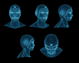 Wireframed robotic man head collection 3D rendering