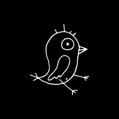 Linear cartoon hand drawn bird symbol. Cute vector black and white bird symbol. Isolated monochrome doodle bird symbol on black background.