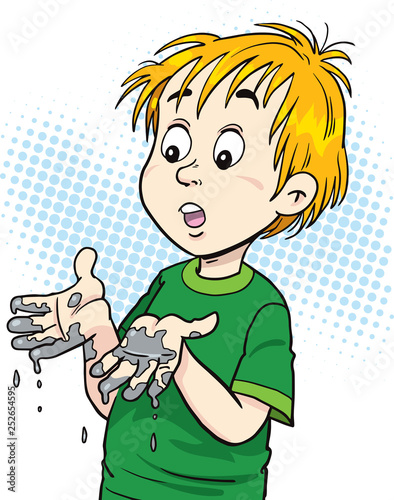 Dirt boy. Child and dirty hands