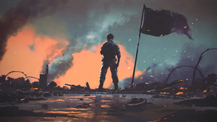 Foto auf AluDibond Grandfailure soldier standing alone after the war in battlefield, digital art style, illustration painting