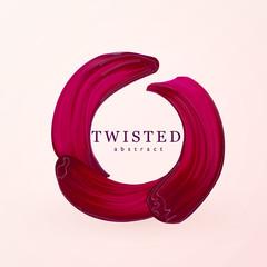 Lipstick rounded circle smear. Female girly logo. Paint brush red smudge, beauty fashion design element
