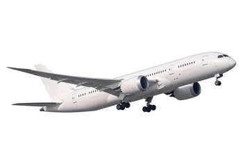 A pure with Boeing 787 no logo take-off isolated side view Wall mural