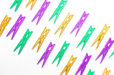 texture colorful clothespins  on  isolated white background