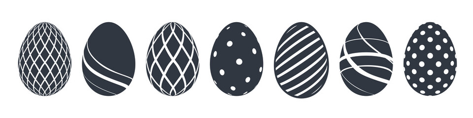Easter egg icons. Black eggs set, isolated white background. Simple design, decoration Happy Easter. Holiday decorative elements collection. Cute pattern ornament. Spring symbol. Vector illustration