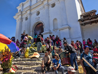 CHICHICASTENANGO, GUATEMALA FEBRUARY 3 2019: People on the Stairs of the Church Santo Tomas,  February 3 2019 Chichicastenango, Guatemala
