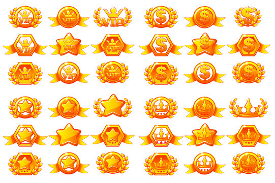 Awards large set , vector creating icons for mobile games. Mobile App Icons different forms and Laurel wreath of victory