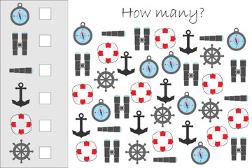 How many counting game with marine pictures for kids, educational maths task for the development of logical thinking, preschool worksheet activity, count and write the result, vector illustration
