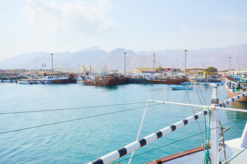 fishing vessel in the port of Oman