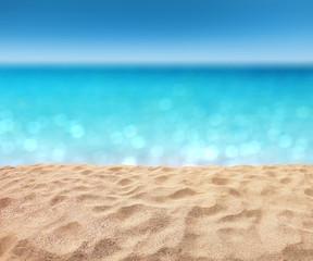 Fototapete - beautiful sandy beach with blur ocean background summer concept