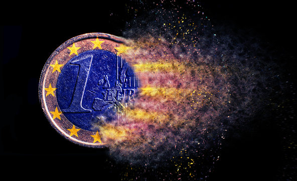 one euro coin explosion isolated close up