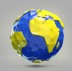 3d polygonal illustration of earth. Low poly earth