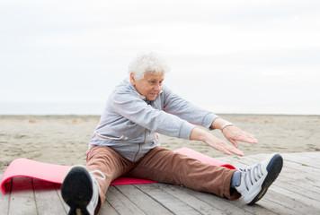 senior woman workout outdoor