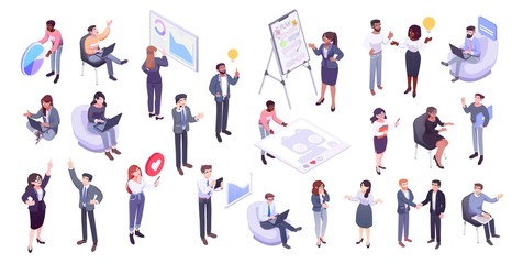Isometric illustration of office workers and business people: business management, online communication and finance concept