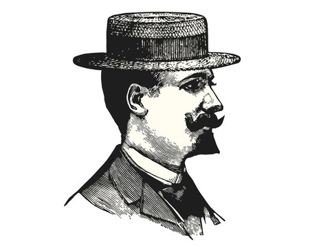 Elegant man with hat vector illustration