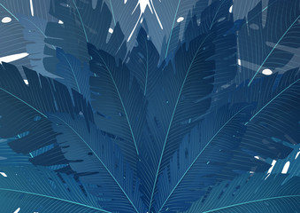 Composition of exotic palm banana leaves on a white background. Vector summer illustration for your design.